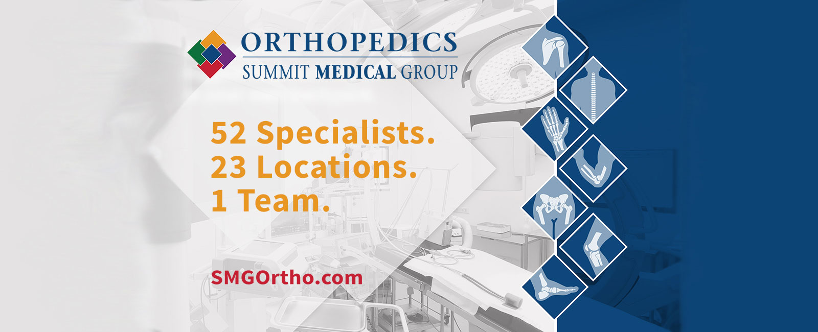Orthopedics at Summit Medical Group: 52 specialists. 23 Locations. 1 team. SMGOrtho.com